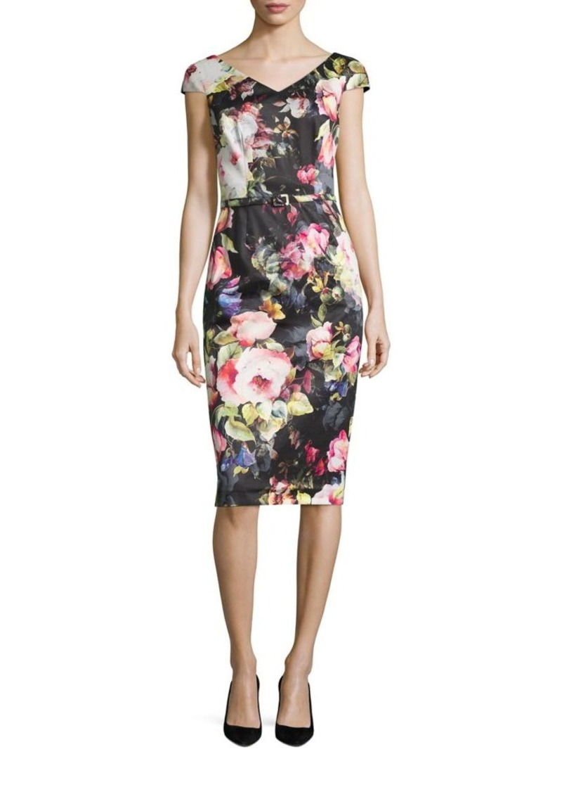 David Meister Floral Cotton Sheath Dress