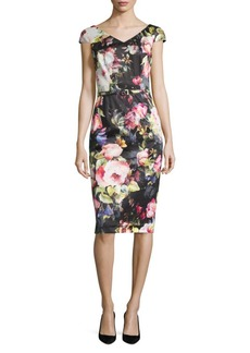 David Meister Floral Cotton Sheath Dress