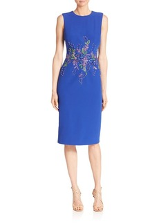 David Meister Floral Detailed Sheath Dress