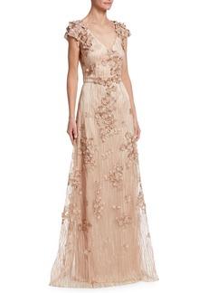 David Meister Floral Embellished Gown
