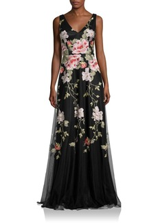 David Meister Floral Embroidered Gown