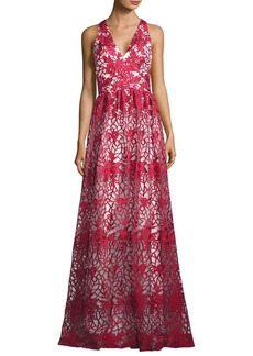 David Meister Floral Embroidered Overlay Gown