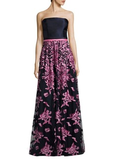David Meister Floral-Embroidered Strapless Gown