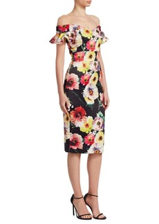 David Meister Floral Off-The-Shoulder Dress