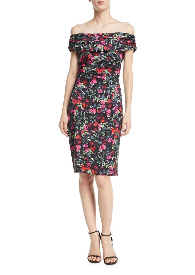 David Meister Floral Off-the-Shoulder Knee-Length Dress