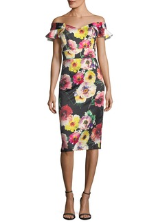 Floral Off-the-Shoulder Sheath Cocktail Dress