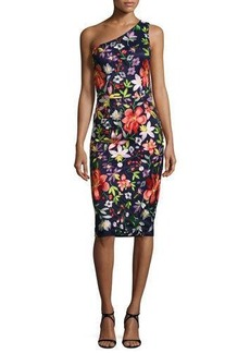 David Meister Floral One-Shoulder Sheath Dress