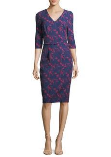 David Meister Floral-Print 3/4 Sleeves Crepe Sheath Day Dress