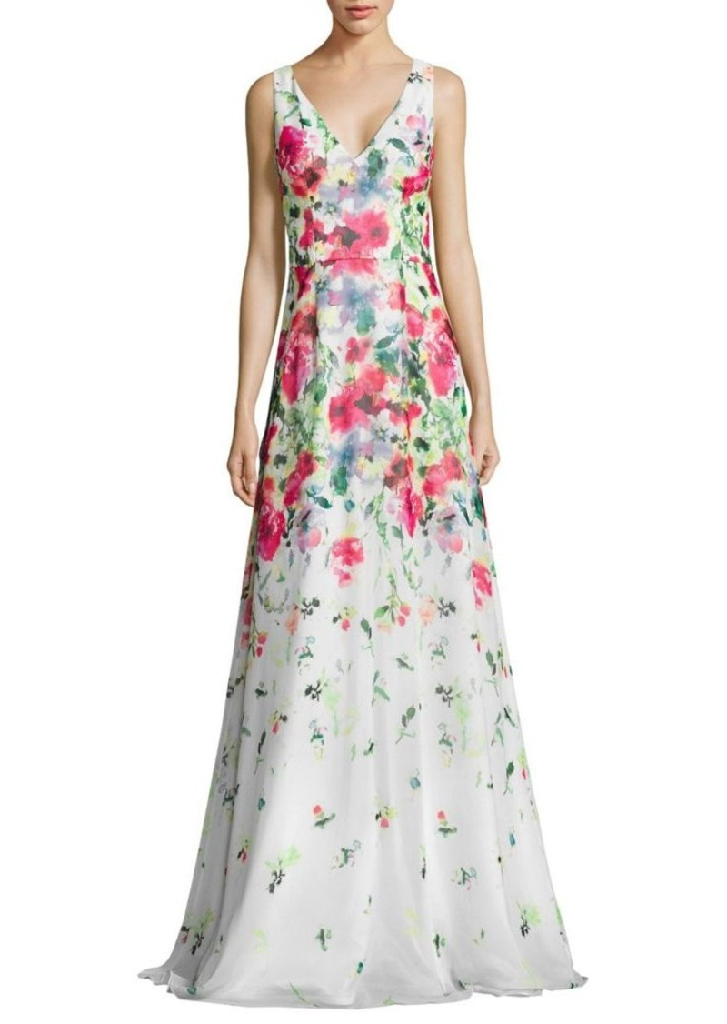David Meister Floral-Print Chiffon Gown