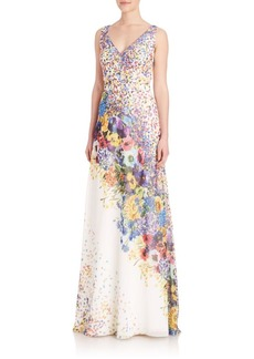 David Meister Floral Print Chiffon Gown