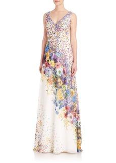 David Meister Floral Print Chiffon Gown