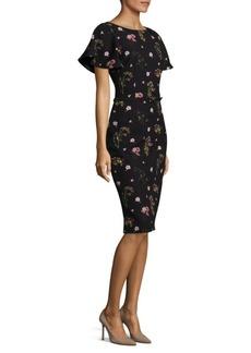 David Meister Floral Print Crepe Dress