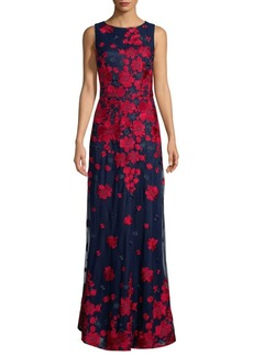 David Meister Floral-Print Gown
