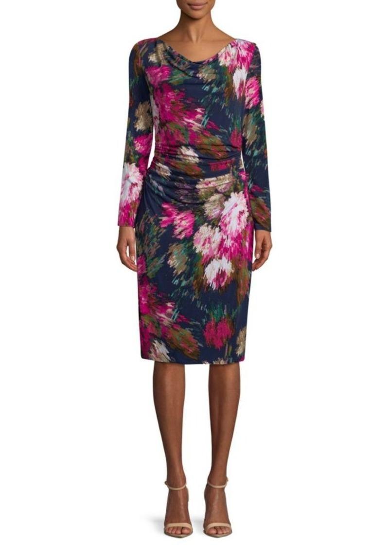 David Meister Floral-Print Long-Sleeve Dress   Dresses