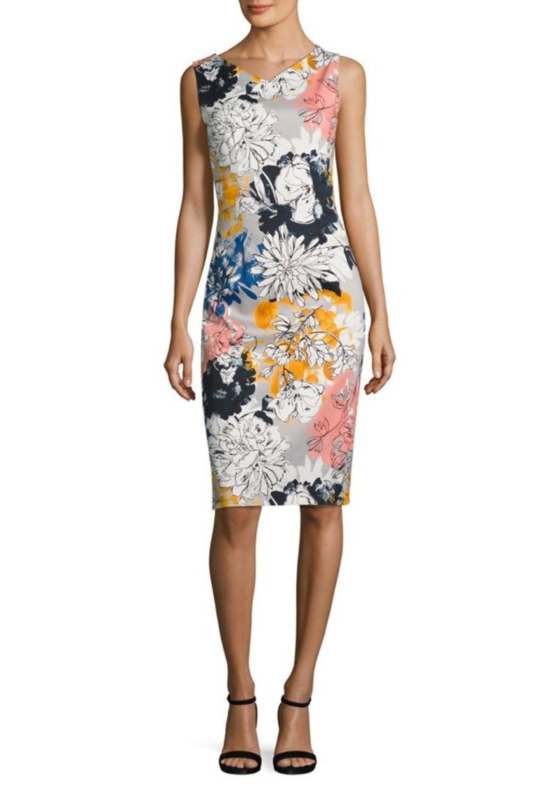 David Meister Floral-Print Sheath Dress