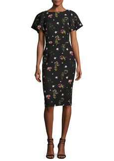 David Meister Floral-Print Short-Sleeve Cocktail Dress