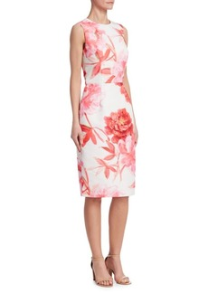 David Meister Floral Print Sleeveless Dress