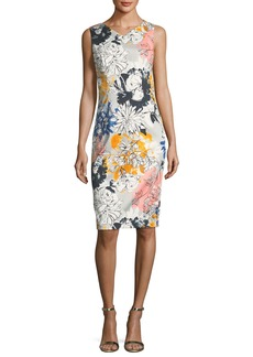 David Meister Floral-Print V-Neck Sleeveless Sheath Dress