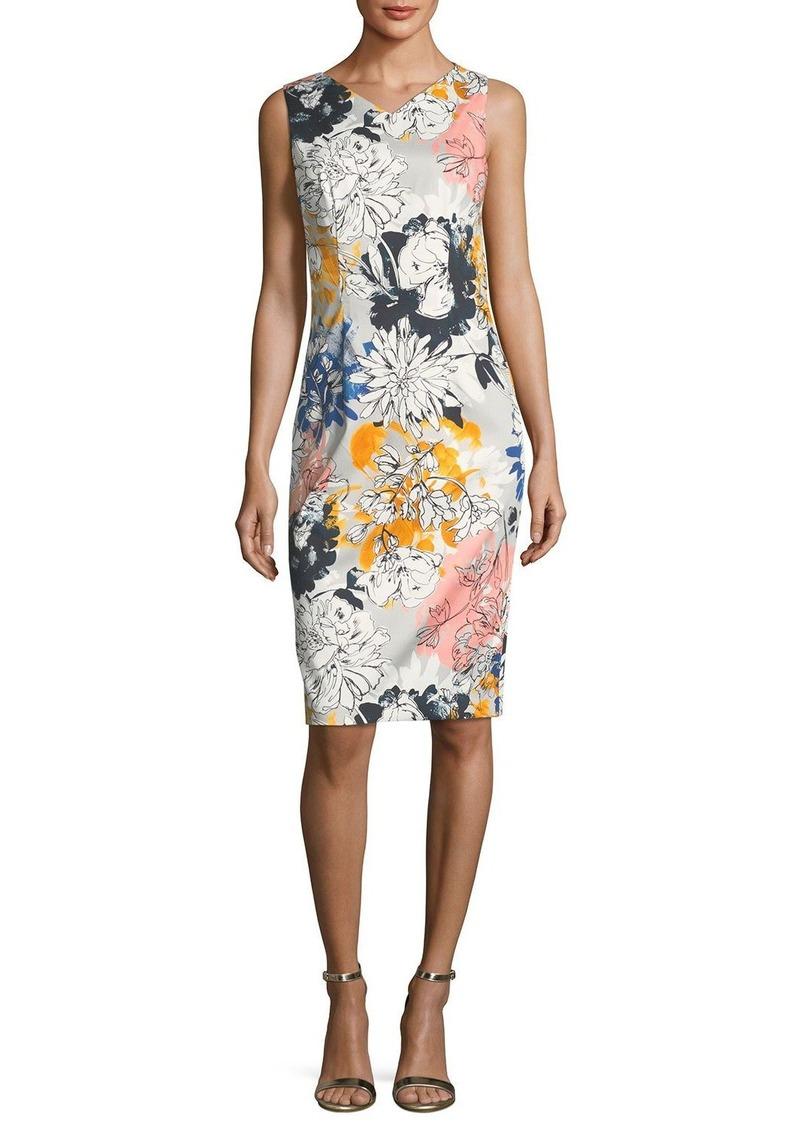 David Meister Floral-Print V-Neck Sleeveless Sheath Dress