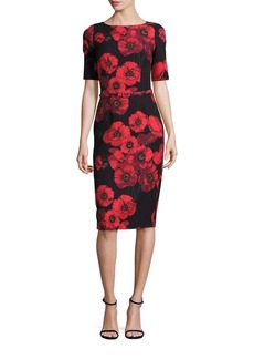 David Meister Floral-Printed Belted Sheath Dress