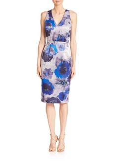 David Meister Floral Printed Sheath Dress
