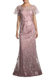 David Meister Floral Short-Sleeve Trumpet Gown