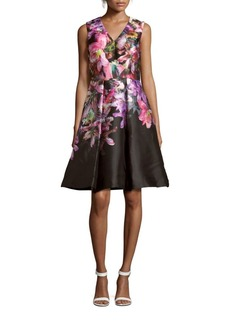 David Meister Floral Silk-Blend Dress