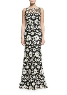 David Meister Floral Sleeveless Illusion Gown
