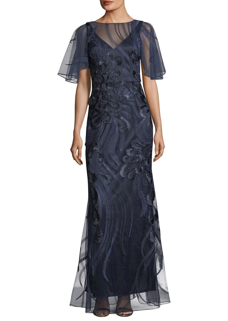 David Meister Flutter-Sleeve Embroidered Mesh Evening Gown | Dresses