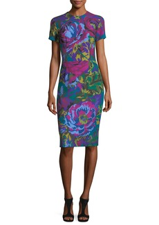 David Meister Fractured Floral Short-Sleeve Sheath Dress