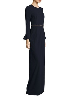 David Meister Front Slit Floor-Length Gown