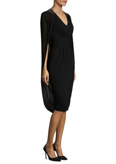 David Meister Gathered Waist Chiffon Sheath Dress