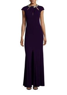 David Meister Grecian Neckline Jersey Gown