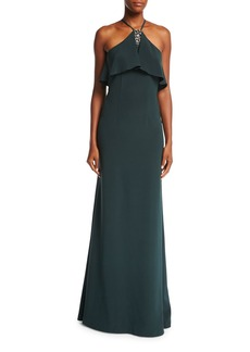 David Meister Halter-Neck Sleeveless Evening Gown w/ Jewel