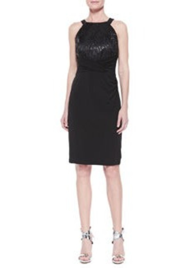 David Meister Halter Sequined Jersey Dress