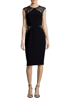 David Meister Illusion Cap-Sleeve Jeweled Sheath Dress