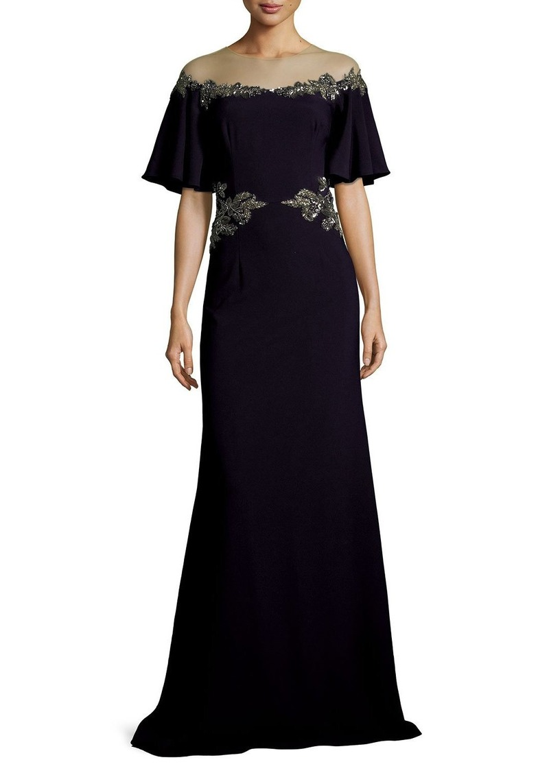 David Meister Illusion Off-the-Shoulder Column Evening Gown w ...