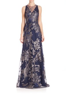 David Meister Illusion V-Neck Floral-Embroidered Gown