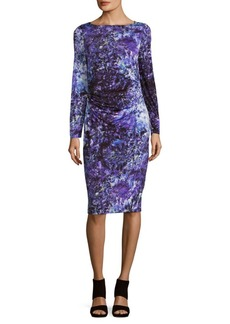 David Meister Jersey Printed Boatneck Dress
