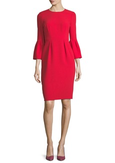 David Meister Jewel-Neck Trumpet Sleeve Sheath Dress