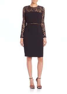 David Meister Lace & Crepe Cocktail Dress