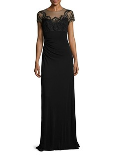 David Meister Lace Applique Illusion Gown