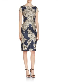 David Meister Lace Embellished Sheath Dress