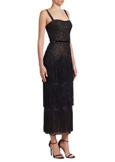 David Meister Lace Fringe Midi Dress