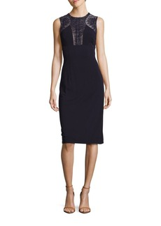 David Meister Lace Jersey Cocktail Dress