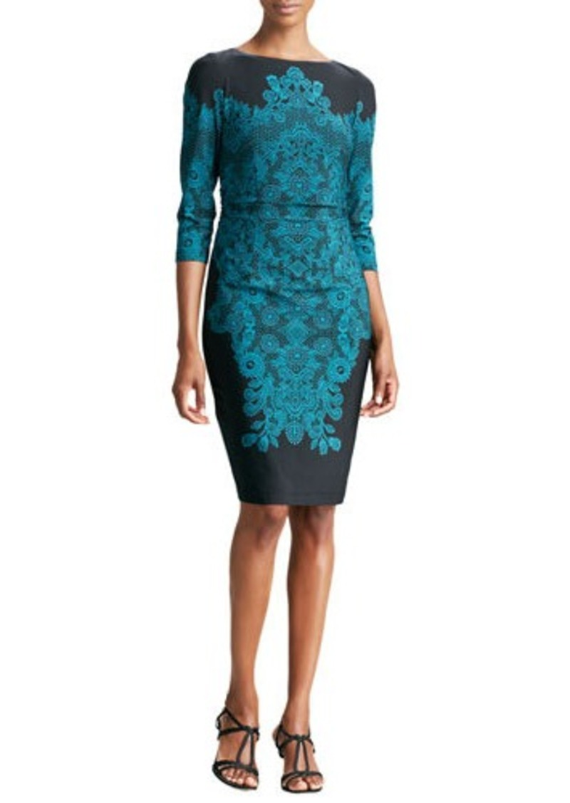 David Meister Lace-Print 3/4-Sleeve Jersey Dress