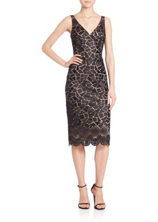 David Meister Lace V-Neck Dress