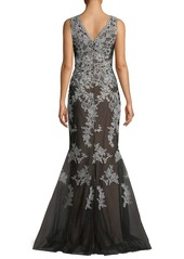 David Meister Lace V-Neck Mermaid Gown
