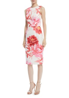 Large-Scale Floral Sheath Dress