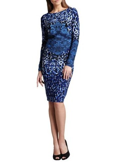 David Meister Long-Sleeve Animal-Print Dress